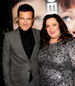 "Jason Bateman and Melissa McCarthy at the California premiere of ""Identity Thief."""