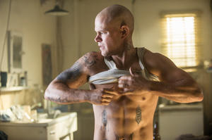 "Matt Damon as Max Da Costa in ""Elysium."""