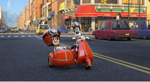 "Sherman voiced by Max Charles and Mr. Peabody voiced by Ty Burell in ""Mr. Peabody & Sherman."""