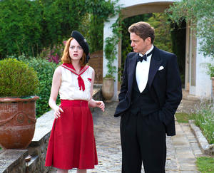 "Colin Firth as Stanley and Emma Stone as Sophie in ""Magic in the Moonlight."""
