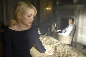"Michelle Williams and Hugh Jackman in ""Deception."""