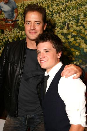 """Brendan Fraser and Josh Hutcherson at the after party of the California premiere of """"Journey to the Center of the Earth."""""""