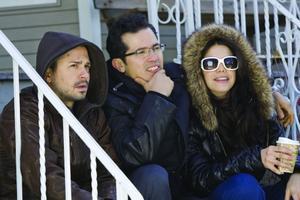 "John Leguizamo, Freddy Rodriguez and Vanessa Ferlito in ""Nothing Like the Holidays."""