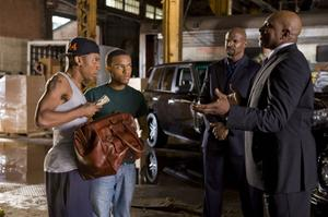 "Brandon T. Jackson as Benny, Bow Wow as Kevin Carson, Terry Crews as Jimmy The Driver and Keith David as Sweet Tee in ""Lottery Ticket."""