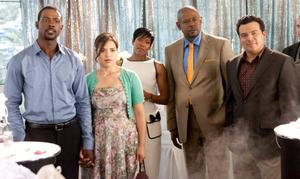 "Lance Gross, America Ferrera, Regina King, Forest Whitaker and Carlos Mencia in ""Our Family Wedding."""