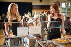 "Amanda Bynes as Marianne and Emma Stone as Olive Penderghast in ""Easy A."""