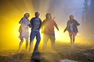 "Blythe Danner, Nick Frost, Simon Pegg and Kristen Wiig in ""Paul."""
