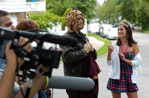 """Jake Kropac and Jessica Coles on the set of """"Let's Make a Movie."""""""
