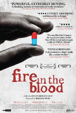 """Poster art for """"Fire in the Blood."""""""