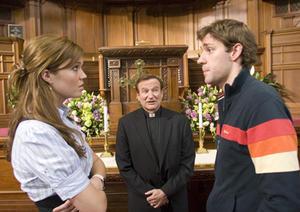 "Mandy Moore, Robin Williams, and John Krasinski star in ""License to Wed."""