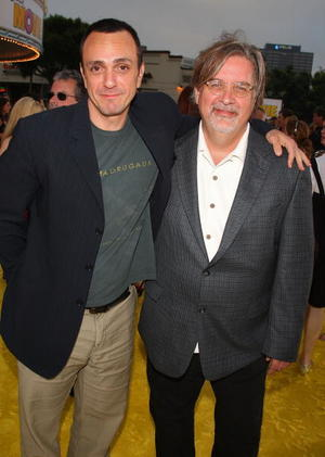 "Hank Azaria and series creator Matt Groening at the L.A. premiere of ""The Simpsons Movie."""