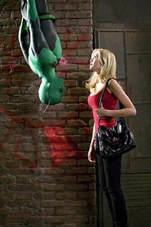 "Drake Bell and Sara Paxton in ""Superhero Movie."""