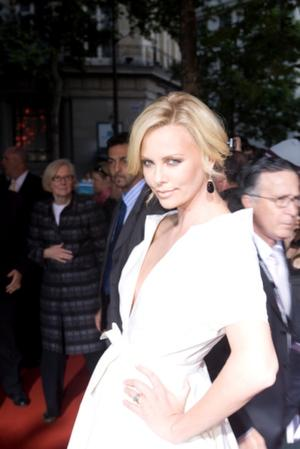"Charlize Theron at the Paris premiere of ""Hancock."""