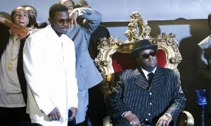 "Derek Luke as Sean Combs and Jamal Woolard in ""Notorious."""
