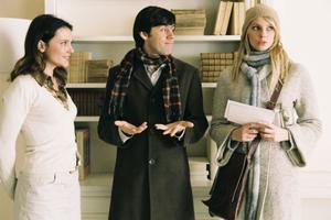 "Virginie Ledoyen as Judith, Emmanuel Mouret as Nicolas and Frederique Bel as Caline in ""Shall We Kiss?"""