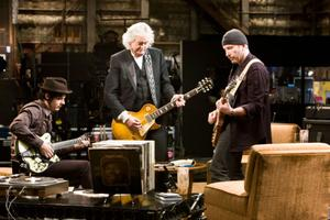 "Jack White, Jimmy Page and The Edge in ""It Might Get Loud."""