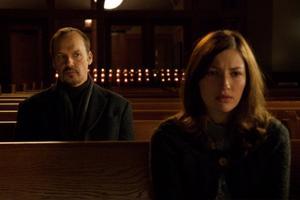 "Michael Keaton and Kelly Macdonald in ""The Merry Gentleman."""