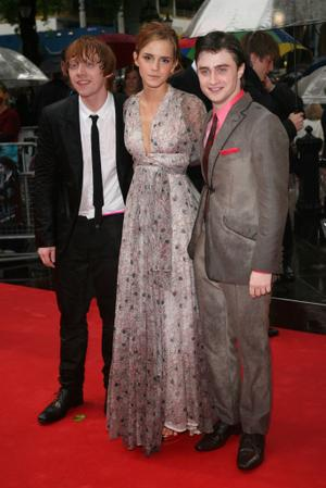 "Rupert Grint, Emma Watson and Daniel Radcliffe at the London premiere of ""Harry Potter and the Half Blood Prince."""