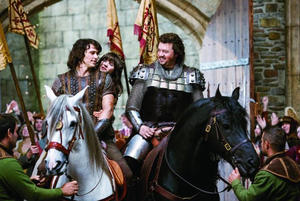 James Franco as Fabious, Zooey Deschanel as Belladonna, and Danny McBride as Thadeous in `` Your Highness.''