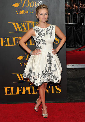 "Reese Witherspoon at the New York premiere of ""Water for Elephants."""
