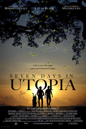 "Poster art for ""Seven Days in Utopia."""