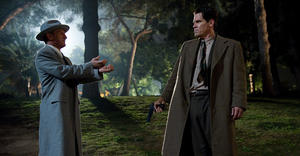 "Sean Penn as Mickey Cohen and Josh Brolin as Sgt. John O'mara in ""Gangster Squad."""