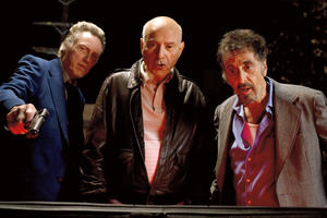 "Christopher Walken as Doc, Alan Arkin as Hirsch and Al Pacino as Val in ""Stand Up Guys."""