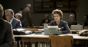 "Barbara Sukowa as Hannah Arendt in ""Hannah Arendt."""