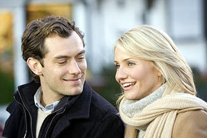"Graham (Jude Law) and Amanda (Cameron Diaz) in ""The Holiday."""
