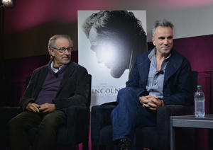 """Director Steven Spielberg and Daniel Day-Lewis at the AMC Theatres Q&A of """"Lincoln"""" in New York."""