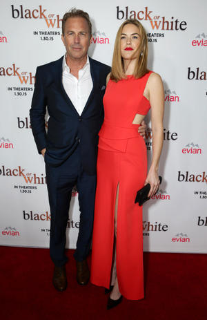 """Kevin Costner and Lily Costner at the Los Angeles premiere of """"Black or White."""""""