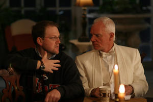 """Director Gary Wheeler and Malcolm McDowell on the set of """"The List."""""""