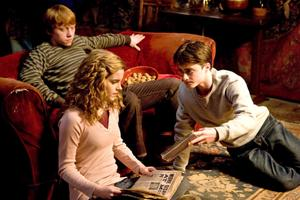 "Rupert Grint as Ron Weasley, Daniel Radcliffe as Harry Potter, Emma Watson as Hermione Granger in ""Harry Potter and the Half-Blood Prince."""