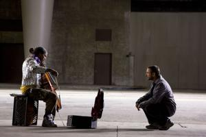 "Jamie Foxx as Nathaniel Ayers and Robert Downey Jr. as Steve Lopez in ""The Soloist."""