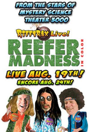 """Poster art for """"RiffTrax Live: Reefer Madness."""""""