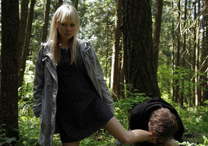 "Adelaide Clemens as Ladybird and Kevin Zegers as Simon in ""Vampire."""