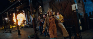 "Ryan Lee as Cary, Joel Courtney as Joe Lamb, Elle Fanning as Alice Dainard and Riley Griffiths as Charles in ""Super 8."""