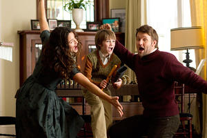 "Jennifer Garner as Cindy Green, CJ Adams as Timothy and Joel Edgerton as Jim Green in ""The Odd Life of Timothy Green."""