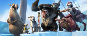 "Flynn voiced by Nick Frost, Squint voiced by Aziz Ansari, Shira voiced by Jennifer Lopez, Scrat, Gutt voiced by Peter Dinklage, Silas voiced by Alain Chabat, Raz voiced by Rebel Wilson and Dobson in ""Ice Age: Continental Drift."""