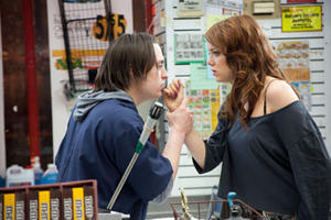 "Kieran Culkin and Emma Stone in ""Movie 43."""