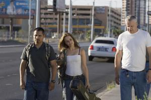 "Michael Pena as TK, Rachel McAdams as Colee and Tim Robbins as Cheaver in ""The Lucky Ones."""