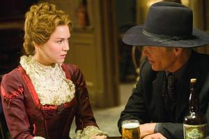 "Renee Zellweger as Allison French and Ed Harris as Virgil Cole in ""Appaloosa."""