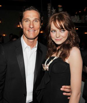 "Matthew McConaughey and Emma Stone at the after party of the California premiere of ""Ghosts Of Girlfriends Past."""
