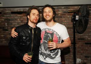 """Sam Rockwell and director Duncan Jones at the after party of the New York premiere of """"Moon."""""""