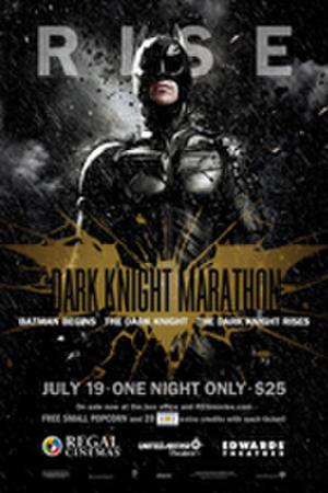 "Poster art for Regal's ""Dark Knight Marathon."""