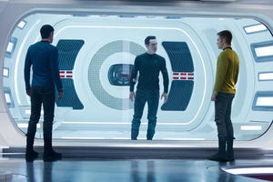 "Zachary Quinto as Spock, Benedict Cumberbatch as John Harrison and Chris Pine as Kirk in ""Star Trek into Darkness."""