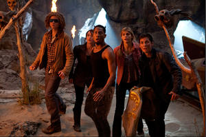 "Douglas Smith as Tyson, Leven Rambin as Clarisse, Brandon T. Jackson as Grover, Alexandra Daddario as Annabeth and Logan Lerman as Percy Jackson in ""Percy Jackson: Sea of Monsters."""