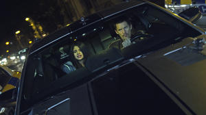 "Selena Gomez as Kid and Ethan Hawke as Brent in ""Getaway."""