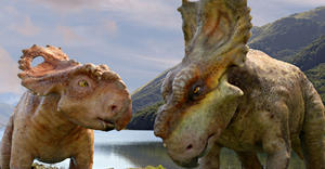 "A scene in ""Walking with Dinosaurs."""