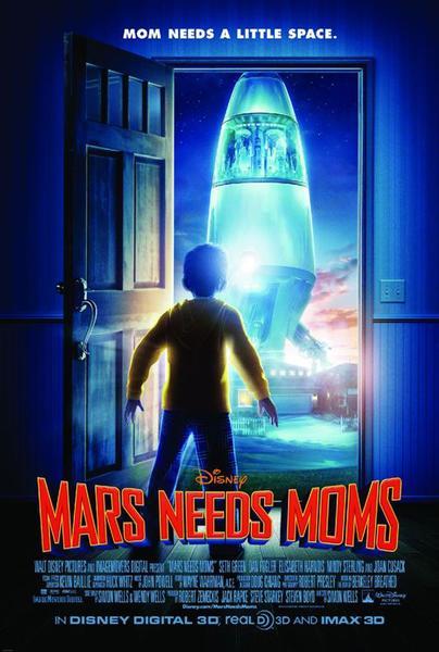mars needs moms movie poster, disney 3d